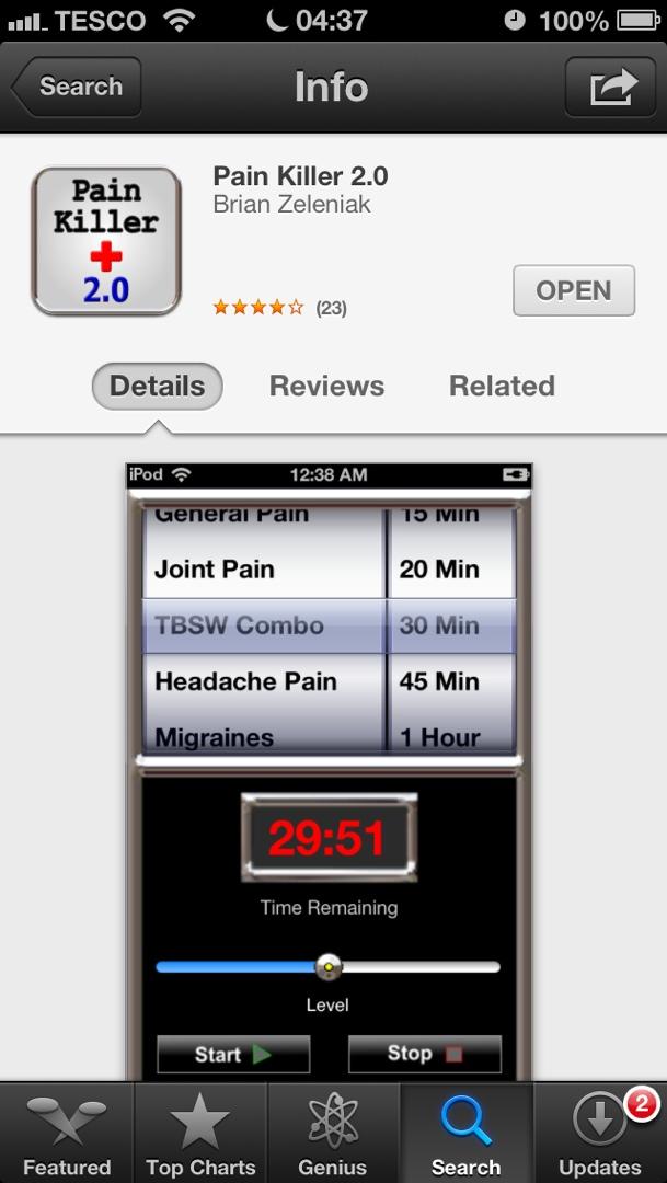 Pain Killer 2.0 app