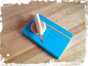 Wooden clutch pencil and sharpener