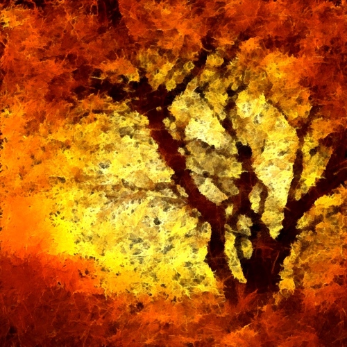 Mobile digital art - abstract orange trees