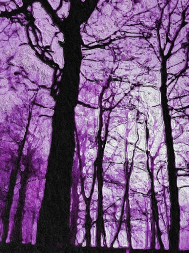 Mibile digital art purple foggy trees