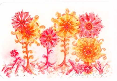Watercolour mixed media painting of flowers