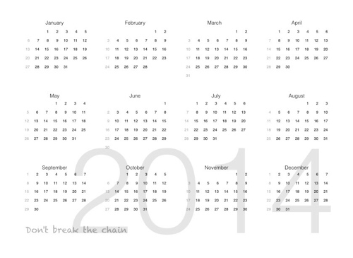 2014 year calendar - habit creation