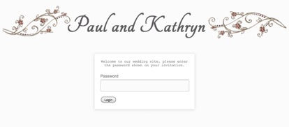 Wedding login page screenshot
