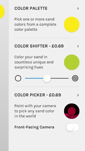 This is sand colour options screen